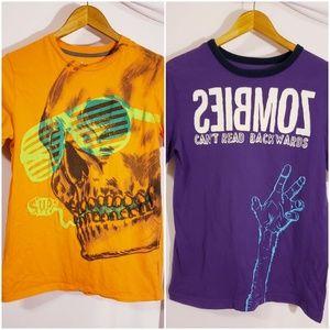 2 boys shirts XL 16/18 XL Zombies and Sup Skeketon
